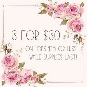 Les Amis Tops - 3 for $30 • Floral Scoop Neck Top w/Ruffle Sleeves